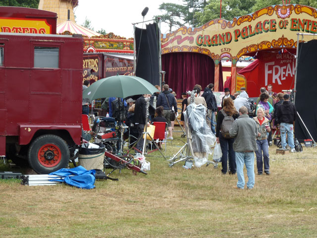 Image showing a camera crew filming at a fairground